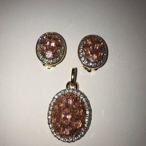 Swarovski pink/pave/crystal Pendant&clip earrings